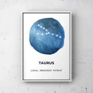 Taurus zodiac sign constellation blue art print